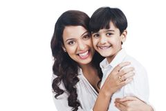 Woman smiling with her son Royalty Free Stock Image