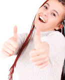 Woman smiling her thumbs up Royalty Free Stock Photography