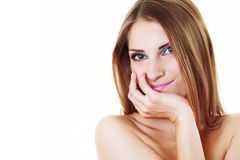 Woman Smiling Isolated Stock Images