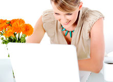 Woman Smiling Laptop Royalty Free Stock Images