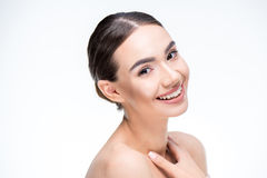 Woman smiling and looking at camera Stock Image