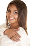 Woman smiling with a love ring Stock Images