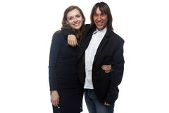 Woman and smiling man in black jacket. Woman and smiling men in black jacket. Isolated photo with white background Stock Photos