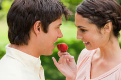 Woman smiling while offering a strawberry to her friend Royalty Free Stock Photos