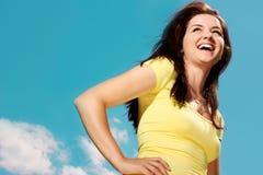 Woman smiling outdoors Stock Photos