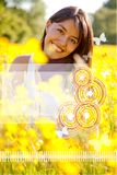 Woman smiling outdoors Royalty Free Stock Photography