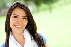 Woman smiling outdoors Stock Photography