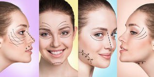 Woman smiling in plastic collage Stock Photography