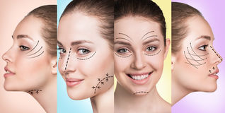 Woman smiling in plastic collage Stock Images