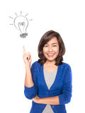 Woman smiling pointing up showing doodle light bulb idea. Stock Photo