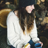 Woman Smiling Sandwich Camping Sawmill Relaxation Concept Stock Photography