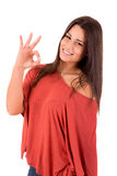 Woman smiling and showing OK sign Royalty Free Stock Photography