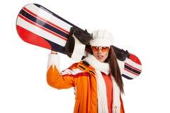 Woman smiling skier girl wearing fur vest ski googles. Royalty Free Stock Images