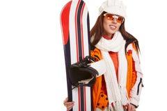 Woman smiling skier girl wearing fur vest ski googles. Stock Photo