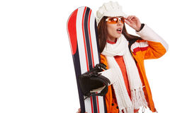 Woman smiling skier girl wearing fur vest ski googles. Winter sport activity stock image