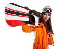 Woman smiling skier girl wearing fur vest ski googles. Winter sport activity stock images