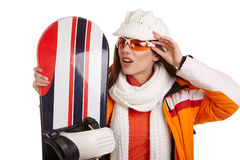 Woman smiling skier girl wearing fur vest ski googles. Winter sport activity stock photo