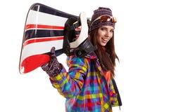 Woman smiling skier girl wearing fur vest ski googles. Royalty Free Stock Photo