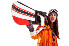 Woman smiling skier girl wearing fur vest ski googles. Winter sport activity royalty free stock photo