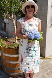 Woman holding hydrangeas at Jugendfest Brugg royalty free stock image