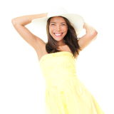 Woman smiling in summer dress Stock Photos