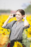 Woman smiling while using mobile phone in sunflowers field Stock Images