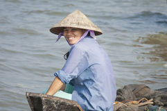 Woman smiling, Vinh Long Stock Photography