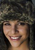 Woman smiling wearing winter hat Stock Photos