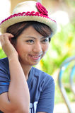 Woman smiling with wool hat Stock Photography
