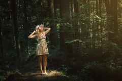 Woman smilling in side the forest in the beautiful sun light. Su stock images