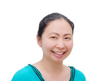 Woman smilling on white background. Middle age Asian woman smilling on white background royalty free stock images