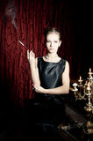 Woman, smoke with cigarette holder, retro style Stock Photos