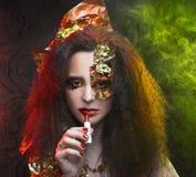 Woman and smoke. Royalty Free Stock Photo