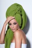 Woman with smokey makeup and green turban Royalty Free Stock Photo