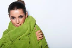 Woman with smokey makeup and green turban Stock Photos