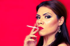 Woman smoking Royalty Free Stock Photos