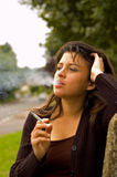 Woman smoking Stock Photo