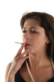 Woman is smoking Stock Photos