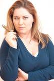 Woman is smoking Stock Photos