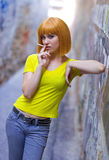 Woman smoking cigarette Royalty Free Stock Images