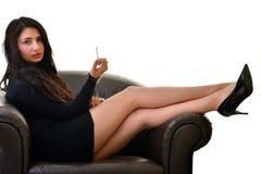 Woman Smoking a Cigarette Stock Photos
