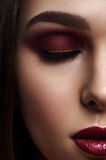 Woman with Smoky Eyes Make-Up and dark red Lips. Half Face of beauty Woman with Smoky Eyes Make-Up and dark red Lips Stock Images
