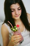Woman and smoothie royalty free stock photos