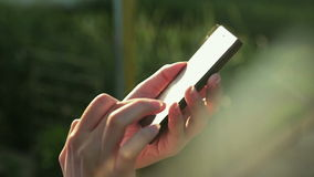 Woman sms texting using app on smart phone at sunset with sun lens flare. Smart phone in female hands. Typing and touching. Close up shot of mobile cell phone stock footage