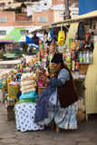 Woman at Snack Stand in Tiquina, Bolivia Royalty Free Stock Photos