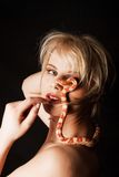 Woman with snake Royalty Free Stock Images