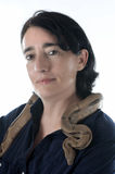 Woman and snake Royalty Free Stock Photos