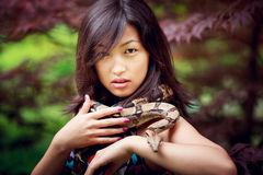 Woman with snake Royalty Free Stock Photos