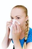 Woman sneeze Stock Photo