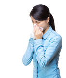 Woman sneeze isolated Royalty Free Stock Photos